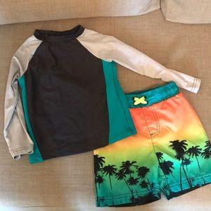 Cat & Jack swim shorts. Crico swim shirt